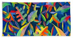 Beach Towel featuring the painting Leaves On Water Abstract by Kristen Fox