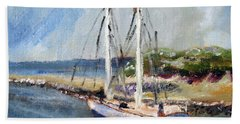 Beach Towel featuring the painting Leaving Sesquit Harbor by Michael Helfen