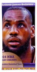 Beach Sheet featuring the drawing Lebron James Believes by Ray Tapajna