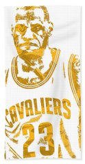 Lebron James Cleveland Cavaliers Pixel Art 10 Beach Towel by Joe Hamilton