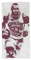 Lebron James Cleveland Cavaliers Pixel Art 4 Beach Towel by Joe Hamilton