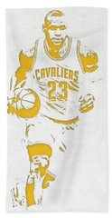 Lebron James Cleveland Cavaliers Pixel Art 5 Beach Towel by Joe Hamilton