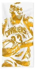 Lebron James Cleveland Cavaliers Pixel Art 6 Beach Towel by Joe Hamilton