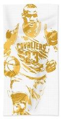 Lebron James Cleveland Cavaliers Pixel Art 7 Beach Towel by Joe Hamilton