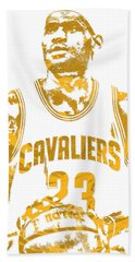 Lebron James Cleveland Cavaliers Pixel Art 8 Beach Towel by Joe Hamilton