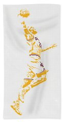 Lebron James Cleveland Cavaliers Pixel Art Beach Towel by Joe Hamilton