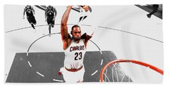 Beach Towel featuring the mixed media Lebron James Flight Path by Brian Reaves