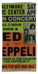 Led Zeppelin Live In Concert At The Baltimore Civic Center Poster Beach Sheet