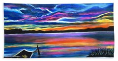Left Alone A Seascape Boat Painting At Sunset  Beach Towel
