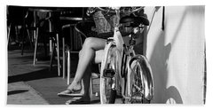 Leg Power - B And W Beach Towel