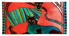 Legend Of The Siamese - Cat Art By Dora Hathazi Mendes Beach Towel
