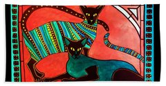 Legend Of The Siamese - Cat Art By Dora Hathazi Mendes Beach Sheet