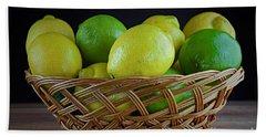 Lemon And Lime Basket Beach Towel by Ray Shrewsberry