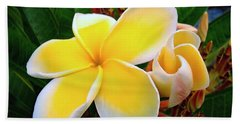 Lemon Yellow Plumeria Beach Towel