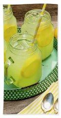 Lemonade In Blue Tray Beach Towel