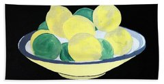 Lemons And Limes In Bowl Beach Towel