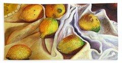 Lemons And Linen Beach Towel
