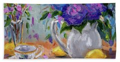 Beach Towel featuring the painting Lemons And Purple  by Jennifer Beaudet