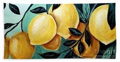 Beach Towel featuring the painting Lemons by Maria Langgle