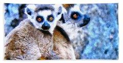 Lemurs Of Madagascar Beach Towel by Maciek Froncisz