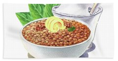 Beach Towel featuring the painting Lentil Soup Watercolor Food Illustration by Irina Sztukowski