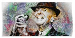 Leonard Cohen - Tribute Painting Beach Towel