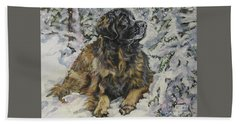 Leonberger In The Snow Beach Towel