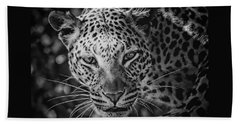 Leopard, Black And White Beach Towel