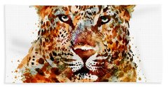 Leopard Head Watercolor Beach Towel
