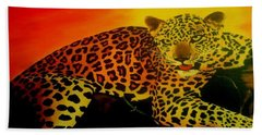 Leopard On A Tree Beach Towel