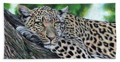 Leopard On Branch Beach Sheet