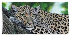Leopard On Branch Beach Towel