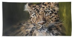 Leopard Relaxing Beach Sheet by Jean Walker