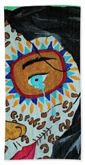 Beach Towel featuring the painting Leopard Tears by Amy Gallagher