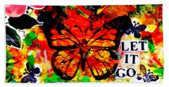 Beach Towel featuring the mixed media Let It Go by Genevieve Esson