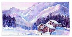 Swiss Mountain Cabins In Snow Beach Towel
