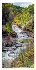 Letchworth Lower Falls In Autumn Beach Towel