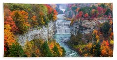 Letchworth Middle Falls In Fall Beach Towel by Mark Papke