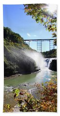 Beach Towel featuring the photograph Letchworth State Park Railroad Bridge by Trina Ansel