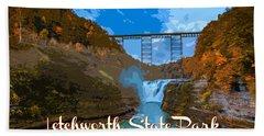 Letchworth State Park Vintage Travel Poster Beach Towel