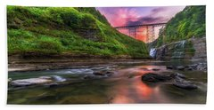 Beach Towel featuring the photograph Letchworth Upper Falls At Dusk by Mark Papke