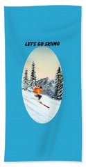 Beach Sheet featuring the painting Let's Go Skiing  by Bill Holkham