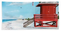 Let's Meet At The Red Lifeguard Shack Beach Towel