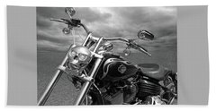 Let's Ride - Harley Davidson Motorcycle Beach Sheet by Gill Billington