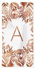 Letter A - Rose Gold Glitter Flowers Beach Towel