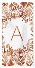 Letter A - Rose Gold Glitter Flowers Beach Towel