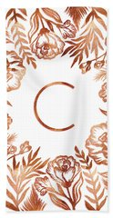 Letter C - Rose Gold Glitter Flowers Beach Sheet