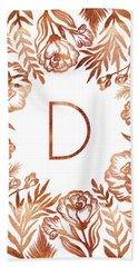 Letter D - Rose Gold Glitter Flowers Beach Towel