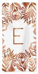 Letter E - Rose Gold Glitter Flowers Beach Towel