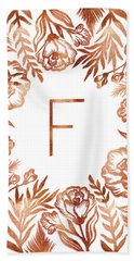 Letter F - Rose Gold Glitter Flowers Beach Towel